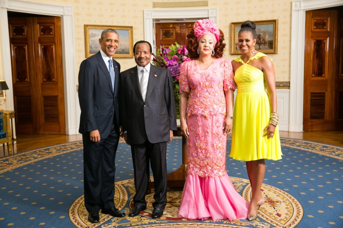 President Barack Obama and First Lady Michelle Obama greet His Excellency Paul Biya, President of the Republic of Cameroon, and Mrs. Chantal Biya, in the Blue Room during a U.S.-Africa Leaders Summit dinner at the White House, Aug. 5, 2014. (Official White House Photo by Amanda Lucidon)