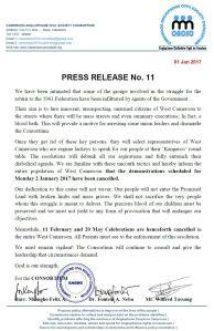 CONSORTIUM PRESS RELEASE NO. 11
